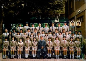 The class in happier, less-deadly times in Battle Royale