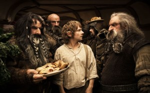 Bilbo (Martin Freeman) reluctantly hosts a gang of dwarves in The Hobbit: An Unexpected Journey