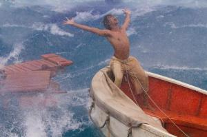 Pi (Suraj Sharma) braves the storm in Life of Pi