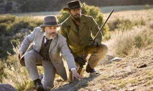 Dr King Schultz (Christoph Waltz) shows Django (Jamie Foxx) the way of the gun in Django Unchained
