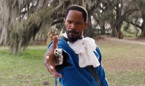 The colourfully dressed Django (Jamie Foxx) kicks ass and takes names in Django Unchained