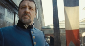 Obsessive lawman Javert (Russell Crowe) in Les Misérables