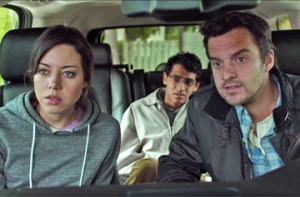 Darius (Aubrey Plaza), Arnau (Karan Soni) and Jeff (Jake Johnson) try to track down the mysterious author of an unconventional ad in Safety Not Guaranteed