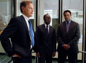 "It's judgement time for union rep Charlie Anderson (Bruce Greenwood), company lawyer Hugh Lang (Don Cheadle) and ""unstable pilot Whip"" Whitaker (Denzel Washington) in Flight"
