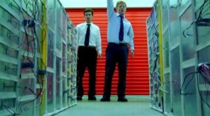 Aaron (Shane Carruth) and Abe (David Sullivan) with their time travel boxes in Primer
