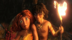 Eep (Emma Stone) and Guy (Ryan Reynolds) in The Croods