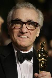 Martin Scorsese with the Best Director Oscar he won for The Departed