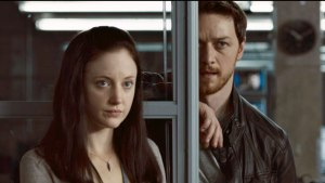 Partners in fighting crime Sarah Hawks (Andrea Riseborough) and Max Lewinsky (James McAvoy) in Welcome to the Punch