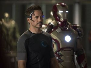 Tony Stark (Robert Downey Jr) with his latest toy in Iron Man 3