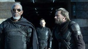 Malcolm Beech (Morgan Freeman), Kara (Zoë Bell) and Sykes (Nikolaj Coster-Waldau) in Oblivion