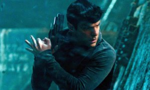 Spock (Zachary Quinto) ready for action in Star Trek Into Darkness