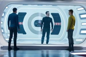 Kirk (Chris Pine) and Spock (Zachary Quinto) come face-to-face with John Harrison (Benedict Cumberbatch) in Star Trek Into Darkness