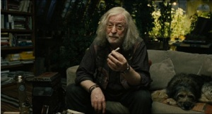 Ageing hippie Jasper Palmer (Michael Caine), no relation to Harry Palmer, in Children Of Men