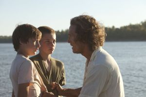 Ellis (Tye Sheridan) and Neckbone (Jacob Lofland) first meet Mud (Matthew McConaughey) in Mud