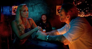 Crystal (Kristin Scott Thomas) gets gangster Bryon (Byron Gibson) on side in Only God Forgives