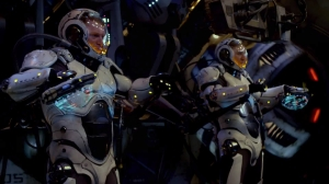 Brothers Yancy (Diego Klattenhoff) and Raleigh Becket (Charlie Hunnam) pilot their Jaeger in Pacific Rim