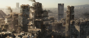The overpopulated ruins of a future Los Angeles in Elysium