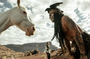 "Tonto (Johnny Depp) and ""weird"" horse Silver in The Lone Ranger"