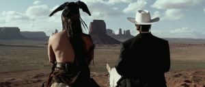 Tonto (Johnny Depp) and John Reid (Armie Hammer) give a nod to John Ford in The Lone Ranger