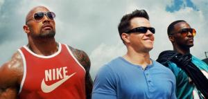 Doyle (Dwayne Johnson), Lugo (Mark Wahlberg) and Doorbal (Anthony Mackey) live it up in Pain & Gain