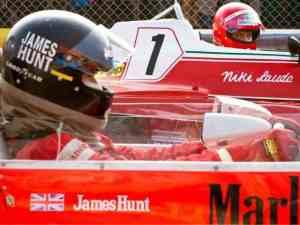 The intense rivalry between Niki Lauda (Daniel Brühl) and James Junt (Chris Hemsworth) in Rush