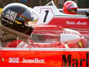 The intense rivalry between Niki Lauda (Daniel Brühl) and James Junt (Chris Hemsworth) in Rush