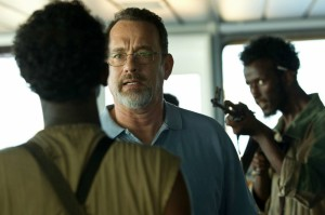 """I'm the captain now..."" - Richard Phillips (Tom Hanks) is confronted by Somali fisherman turned pirate Abduwali Muse (Barkhad Abdi) in Captain Phillips"