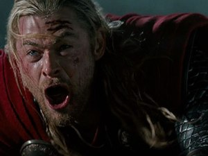 """Nooooooo!!!!"" Chris Hemsworth plays Thor in Thor: The Dark World"