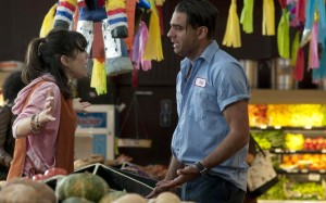 Ginger (Sally Hawkins) tries to calm down volatile boyfriend Chili (Bobby Cannavale) in Blue Jasmine