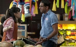 Ginger (Sally Hawkins) tries to calm down volatile boyfriend Chili (Bobby Cannavale) in Blue Jasmine