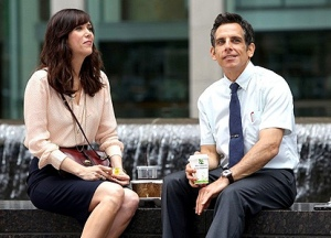 Walter (Ben Stiller) with the object of his affection, co-worker Cheryl (Kristen Wiig) in The Secret Life of Walter Mitty