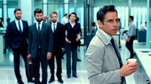 Walter (Ben Stiller) dissapears into a dram world, to the amusement of his boss (Adam Scott) in The Secret Life of Walter Mitty