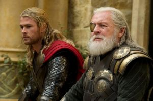 Thor (Chris Hemsworth) and Odin (Anthony Hopkins) share a father-son moment in Thor: The Dark World
