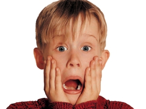 Macaulay Culkin doing what he does best - mock, shock face in Home Alone