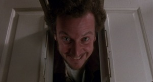 One half of the Wet Bandits (Daniel Stern) about to regret messing with Kevin in Home Alone