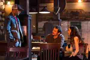 Phil Broker (Jason Statham) confronts Gator (James Franco) and girlfriend Cheryl (Winona Ryder) in Homefront