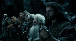 The dwarves of Erebor, led by Thorin (Richard Armitage) at the door of the Lonely Mountain in The Hobbit: The Desolation Of Smaug