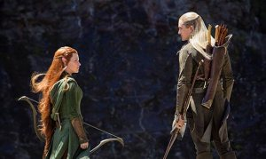 Tauriel (Evangeline Lilly) and fellow elf Legolas (Orlando Bloom) on the trail of orcs in The Hobbit: The Desolation Of Smaug