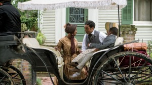Solomon Northup's (Chiwetel Ejiofor) happy family before being kidnapped in 12 Years A Slave