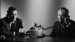 The tension builds as the President (Henry Fonda) and his interpreter (Larry Hagman) talk to the Russians in Fail Safe