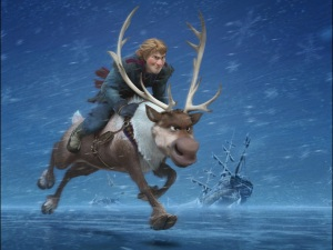 Heroic mountain man Kristoff (Jonathan Groff) aboard his trusty reindeer Sven in Frozen