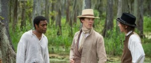 Solomon Northup's (Chiwetel Ejiofor) first 'master' William Ford (Benedict Cumberbatch) and his cruel carpenter John Tibreats (Paul Dano) in 12 Years A Slave