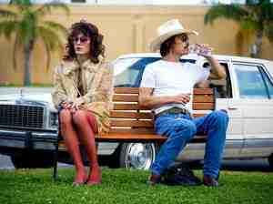 Ron (Matthew McConaughey) forms an unlikely business partnership with Rayon (Jared Leto) in Dallas Buyers Club