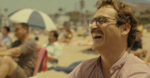 And happier times. Theodore (Joaquin Phoenix) shares a joke with Samantha (voiced by Scarlett Johannson) in Her