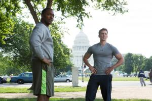 Steve 'Cap' Rogers (Chris Evans) forms a valuable friendship with fellow veteran Sam Wilson (Anthony Mackie) in Captain America: The Winter Soldier