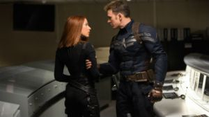 Cap (Chris Evans) must work with deadly assassin Natasha Romanoff, aka Black Widow (Scarlett Johannson) in Captain America: The Winter Soldier