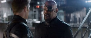 Cap (Chris Evans) expresses his concerns as to the direction S.H.I.E.L.D is taking to Nick Fury (Samuel L Jackson) in Captain America: The Winter Soldier
