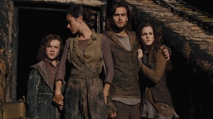 Noah's family, son Japheth (Leo McHugh Carroll), wife Naameh (Jennifer Connelly), son Shem (Douglas Booth) and adopted daughter Ila (Emma Watson) in Noah