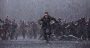 Noah's son Ham (Logan Lerman) runs for his life in Noah
