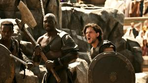 Milo, aka The Celt (Kit Harrington) forms a firm friendship with fellow slave Atticus (Adewale Akinnuoye-Agbaje) in Pompeii